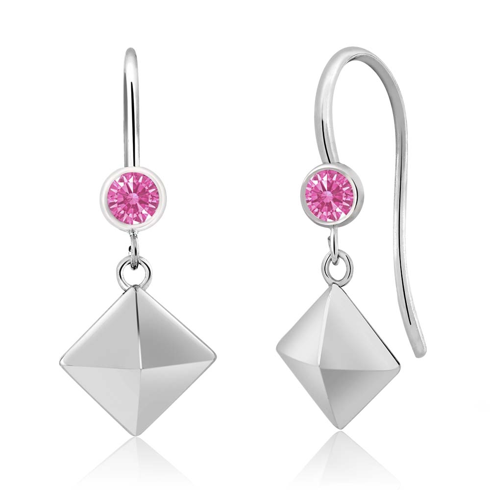 0.22 Ct Pink 925 Sterling Silver Earrings Made With Swarovski Zirconia
