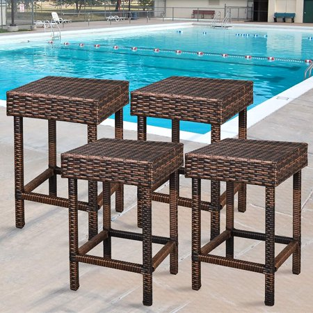 Zeny Wicker Bar Stools Backless Chair Outdoor Furniture 24