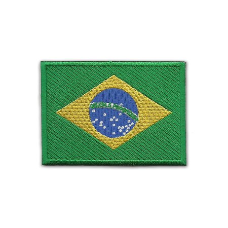 "Brazil Flag Embroidered Patch 3.5"" x 2.5"" Logo Sew Ironed On Badge Embroidery Applique Patch"