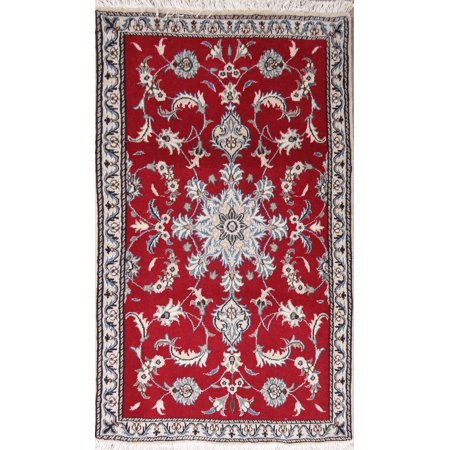 Silk Wool Linen (Wool & Silk Traditional Hand-Knotted Red Floral Nain Oriental Rug 3x5 )