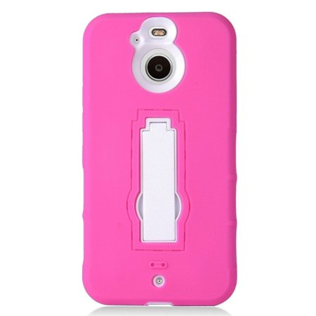 - Insten Dual Layer [Shock Absorbing] Hybrid Stand Rubber Silicone/Plastic Case Cover For HTC Bolt - Hot Pink/White