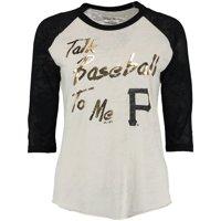 Pittsburgh Pirates Majestic Threads Women's Talk Baseball To Me T-Shirt - Cream/Black