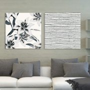 """wall26 2 Panel Square Canvas Wall Art - Floral and Abstract Lines Patterns - Giclee Print Gallery Wrap Modern Home Decor Ready to Hang - 24""""x24"""" x 2 Panels"""