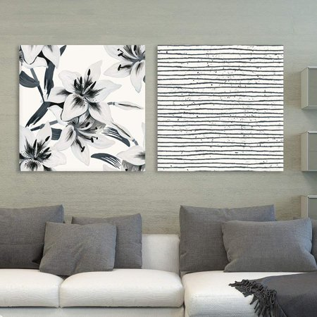 wall26 2 Panel Square Canvas Wall Art - Floral and Abstract Lines Patterns - Giclee Print Gallery Wrap Modern Home Decor Ready to Hang - 24