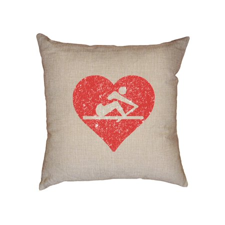 Rowing Crew Love Red Heart Rower Icon In Middle Decorative Linen Throw Cushion Pillow Case with (Middle Insert)