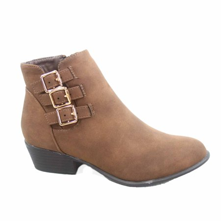 Brown Heels Slides Shoes (Judy-1 Women's Triple Buckles Almond Toe Low Heel Western Ankle Booties Shoes )