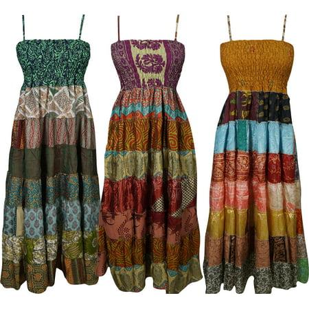 6a15ab6cfbecc Mogul Interior - Mogul Lot of 3 Pcs Patchwork Dress Recycled Vintage ...