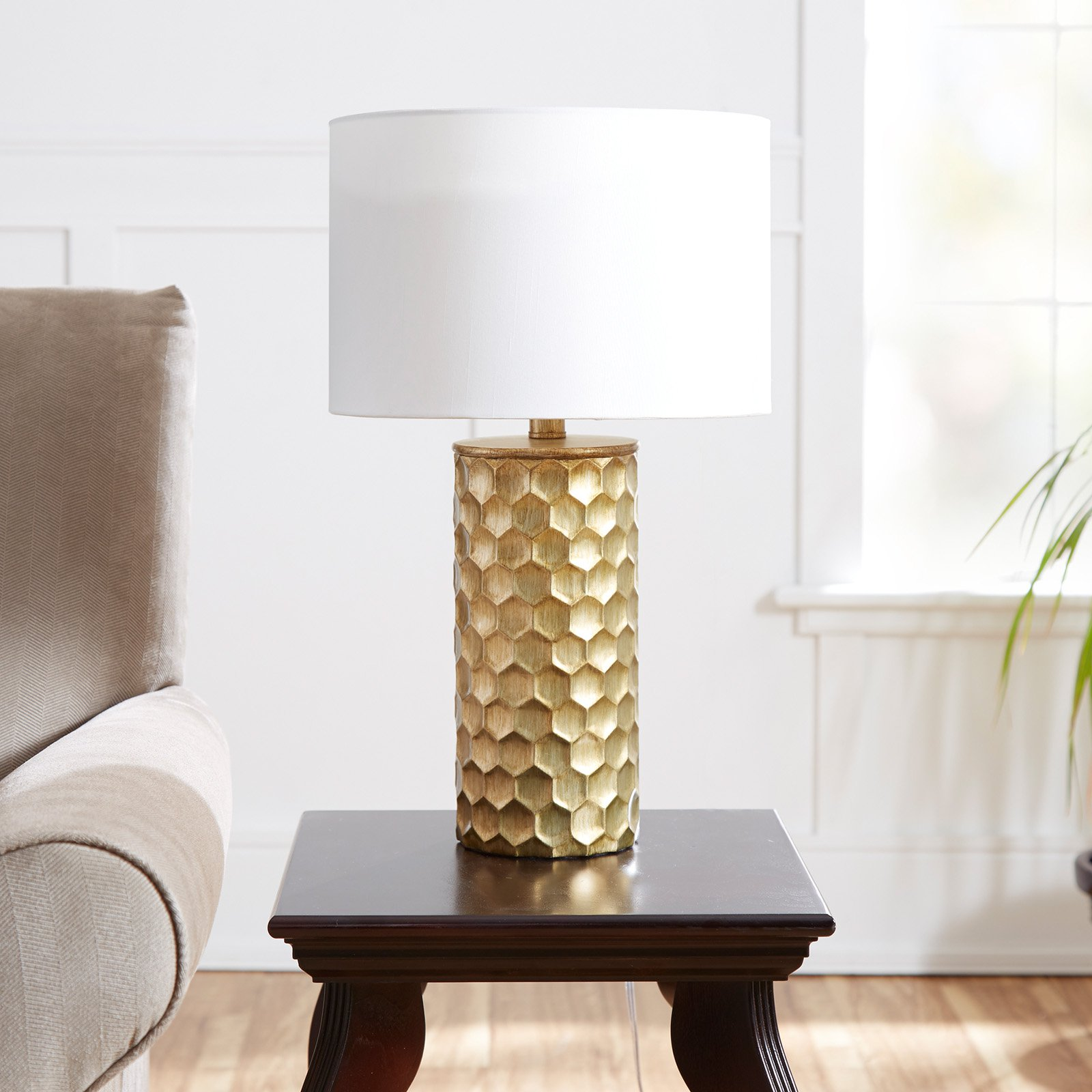 The Hive Gilded Table Lamp with Shade, CFL Bulb Included