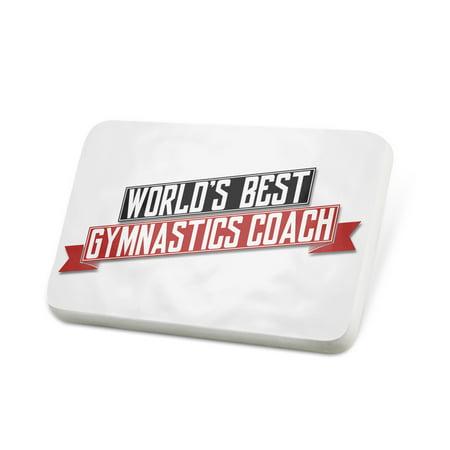 Porcelein Pin Worlds Best Gymnastics Coach Lapel Badge – (Best Gymnastic Coaches In Usa)