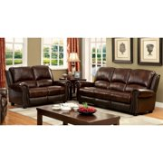 Furniture of America Garry 2-Piece Top Grain Leather Match Sofa Set in Brown