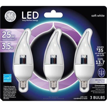 ge energy smart led 3 5w crystal clear small base bulb. Black Bedroom Furniture Sets. Home Design Ideas