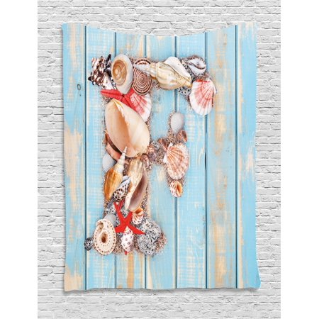 Coastal Soft Shell (Letter F Tapestry, Coastal Image with Soft Color Sea Related Animal Shells Alphabet, Wall Hanging for Bedroom Living Room Dorm Decor, 60W X 80L Inches, Pale Blue Ivory Dark Coral, by Ambesonne )