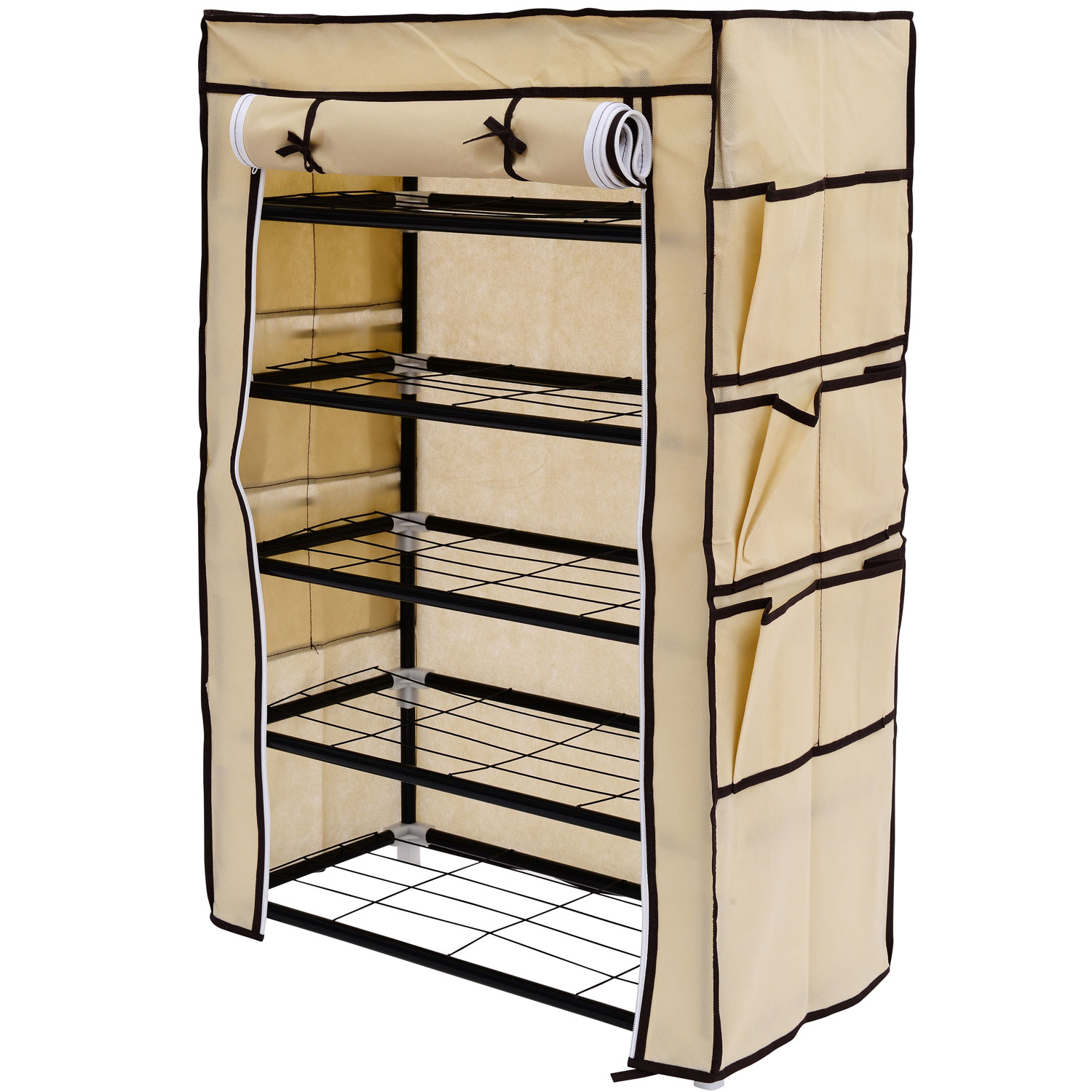 HomCom Home Portable Closet Storage Shelf Shoe Rack   Cream   Walmart.com