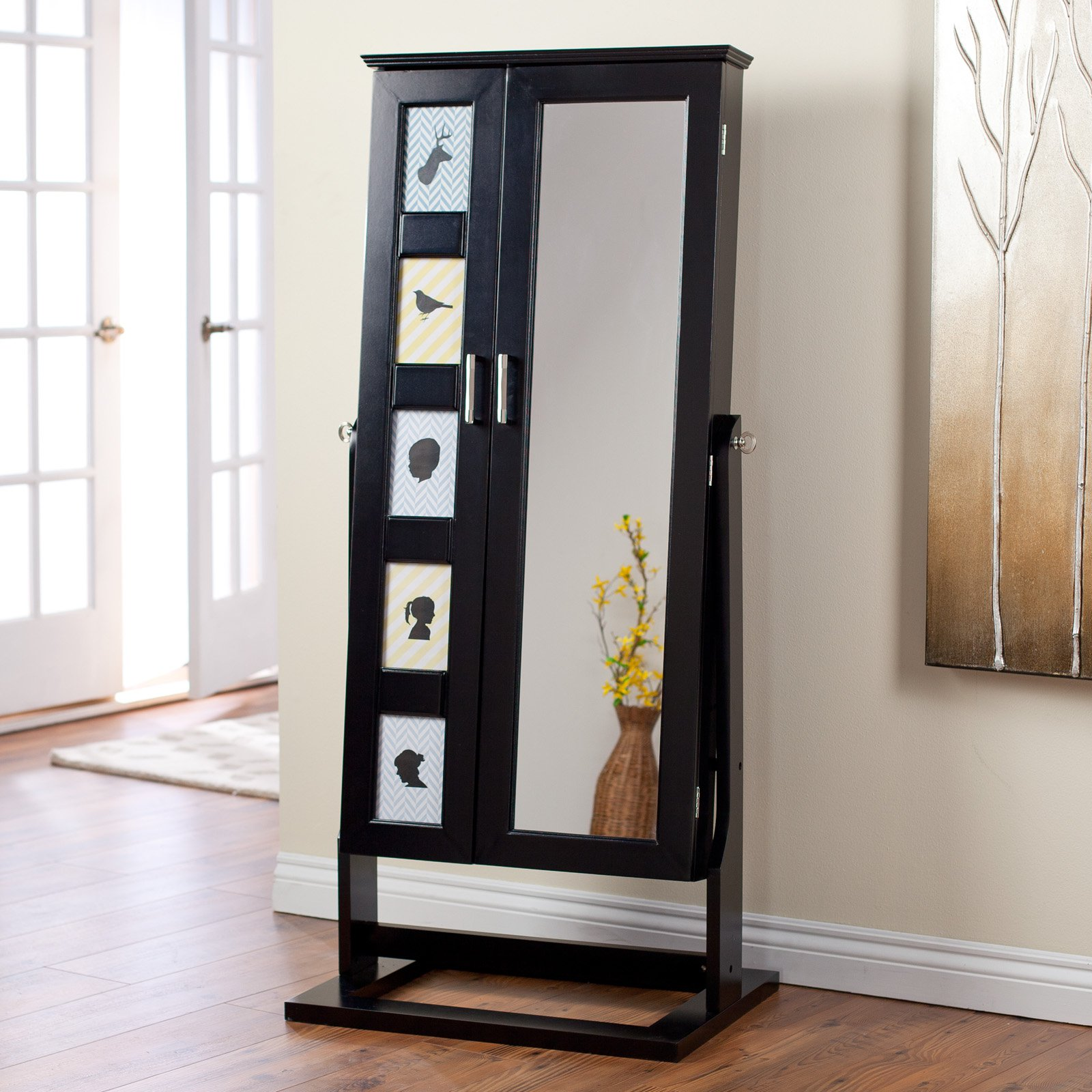Belham Living Picture Frames Jewelry Armoire Cheval Mirror High Gloss Black by East West Basics (HK) Ltd