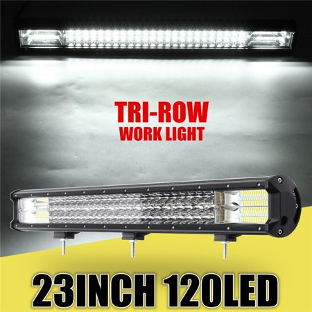 23Inch Light Bulb 360W Tri-Row LED Work Light Bar Spot Flood Combo Offroad Wagon Truck (Wagon Wheel Bar)