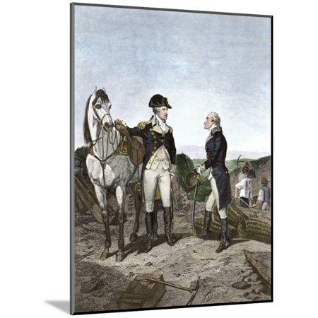 First Meeting of George Washington and Alexander Hamilton, Wearing Continental Army Uniforms Wood Mounted Print Wall Art (Mountie Uniform)