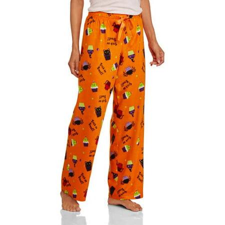 bc1b2ed20392b Secret Treasures - Womens Orange Fleece Halloween Sleep Pants Kitty Cupcake  Pajama Bottoms - Walmart.com