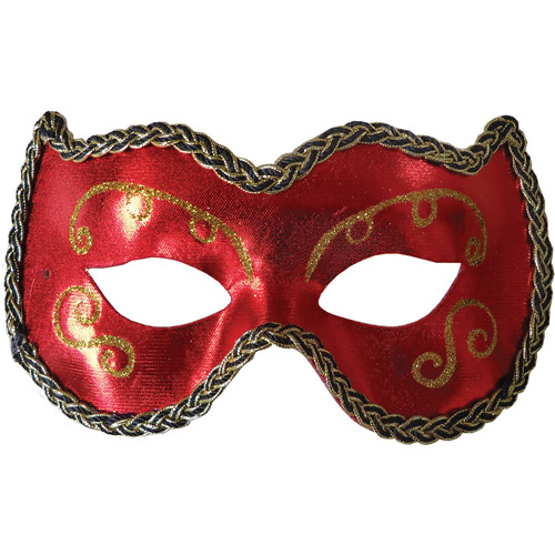 Red and Gold Opera Eye Mask Adult Halloween Accessory