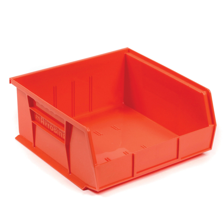 "AkroBin® Plastic Stacking Bin, 11""W x 10-7/8""D x 5""H, Red, Lot of 6"
