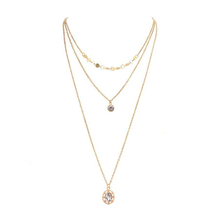 Triple Strand Leather - Gold Layered Chain Necklace for Women Fashion Pendant Necklace Triple Strand Statement Necklace Womens Jewelry