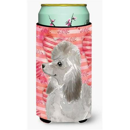 Grey Standard Poodle Love Tall Boy Beverage Insulator Hugger - Gray Poodle