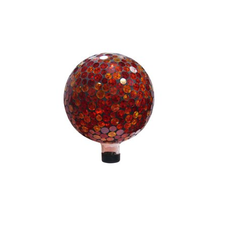 10 Inch Mosaic Gazing Ball - Red/Yellow