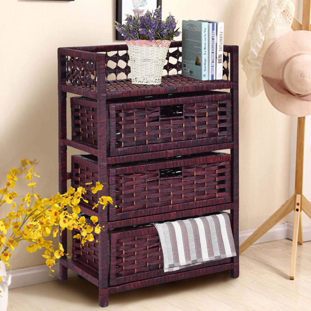 Click here to buy Costway 3 Drawer Storage Unit Tower Shelf Wicker Baskets Storage Chest Rack by Costway.