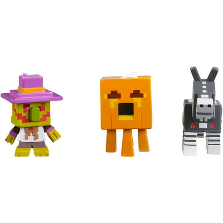 Minecraft Mini Figure Halloween Series 3-Pack Village Watcher, Pumpkin Gast, and Robot Donkey - Halloween Roller Coaster Minecraft