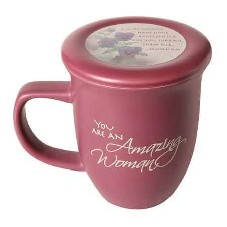 Cobalt Ceramic Mug - Amazing Woman Ceramic Mug &Coaster/Lid - 14 Ounce Coffee/Tea Cup - Dusky Purple