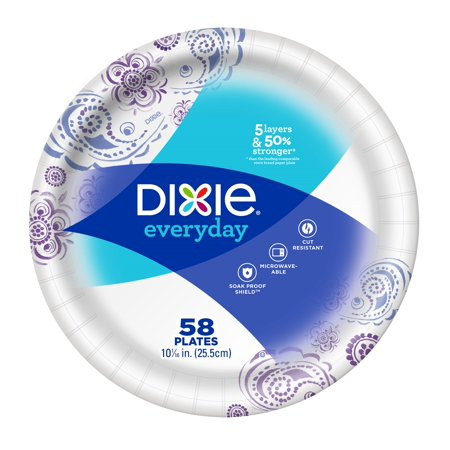 Dixie Everyday Paper Dinner Plates, 10 1/16u0022, 58 Count