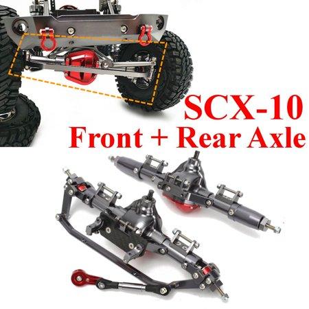 CNC Aluminum Front + Rear Rock Axle Set For 1/10 Axial SCX10 Honcho Jeep RC Car
