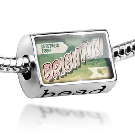 Bead Greetings from Brighton, Vintage Postcard Charm Fits All European Bracelets - Brighton Jewelry Outlet