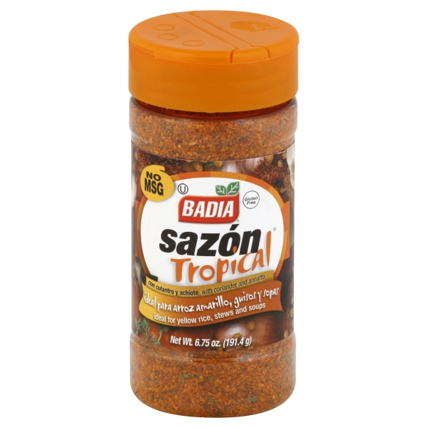 Badia Sazon Tropical MSG Free Seasoning Blend with Coriander and Annatto, 6.75 oz