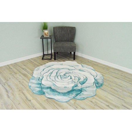 Blue Hand Carved Wood (FLOWERS 3D Effect Hand Carved Thick Artistic Floral Flower Rose Botanical Shape Area Rug Design 304 Blue 2'7''x2'7'' Round)