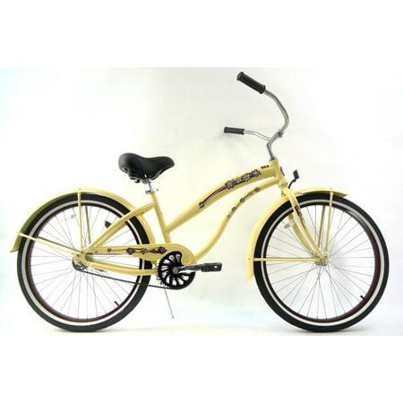 "26"" GreenLine Kruiser1APL Ladies Single Speed Aluminum Beach Cruiser Bike, Vanilla with Brown"