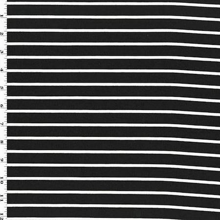 Black/White Stripe Ponte Knit, Fabric By the Yard