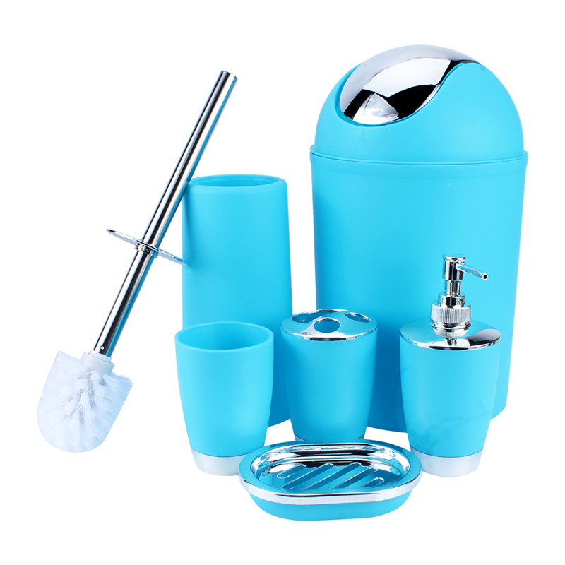 6 Piece Bathroom Accessories Set,Plastic Bath Set Lotion Bottles, Toothbrush Holder, Tooth Mug, Soap Dish, Toilet Brush, Trash Can