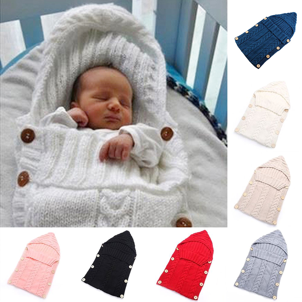 Girl12Queen Newborn Baby Infant Knit Crochet Swaddle Wrap Swaddling Blanket Sleeping Bag