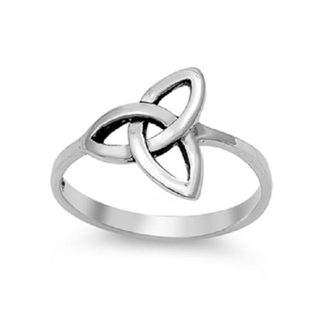 Sterling Silver Wicca Triquetra Ultimatum Ring (Sizes 3-15) - Angry Birds Halloween 3-15 Three Stars