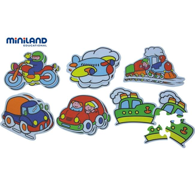 Miniland Educational 35230 Silhouette- 6 Plastic puzzle- means of transportation