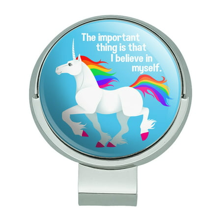 Unicorn The Important Thing is That I Believe in Myself Golf Hat Clip With Magnetic Ball Marker Magnetic Ball Marker