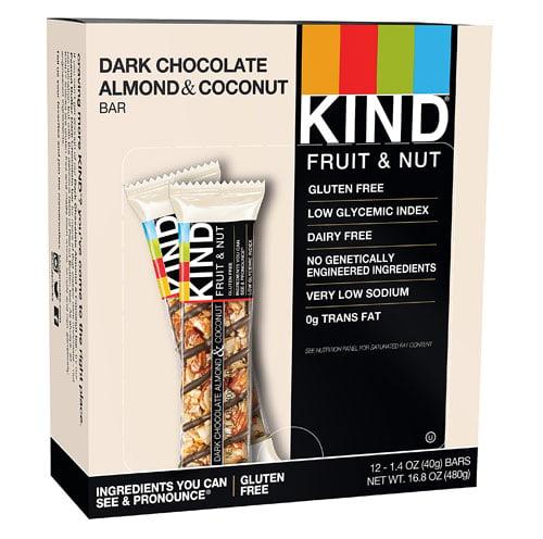 KIND Fruit & Nut Bars Dark Chocolate Almond & Coconut -- 12 Bars pack of 1