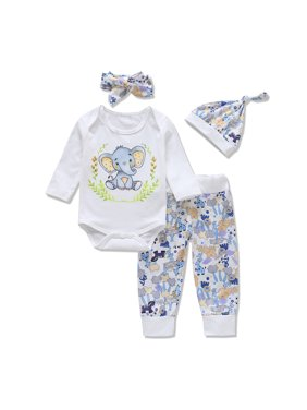 4-piece Lovely Elephant Print Romper, Pants, Headband and Hat Set