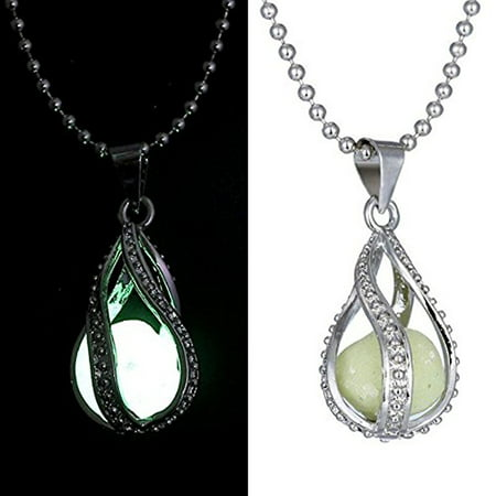 Fashion Magic Teardrop Necklace Glow in the Dark Pendant Chain Mermaid Necklace for Girls (Sequin Drop Necklace)