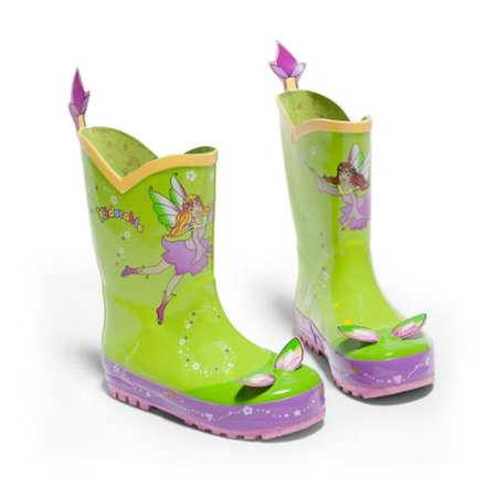Kidorable Little Girls Light Green Fairy Print Rubber Rain B