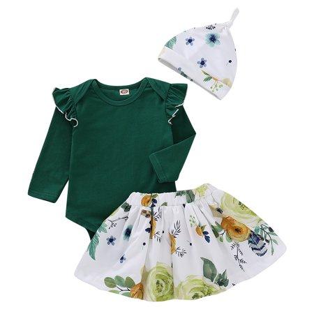4025bf960bd Faithtur - 3PCS Baby Girls Ruffle Rompers Long Sleeve T-Shirt Round Neck  Top One Piece Jumpsuit+Flower Print Strap Dress+ Hat - Walmart.com
