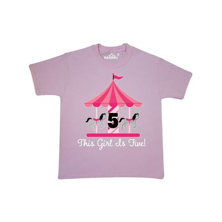 5th Birthday Girls Carousel Horse Youth T-Shirt