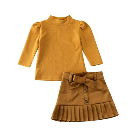 Toddler Baby Girls Long Sleeve Ruffle Shoulder Knitted Sweater Pullover Tops+ Pleated Bowknot Dress Mini Skirt Pleated Silk Sweater Dress