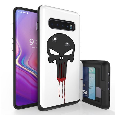Beyond Cell Duo Shield Series Compatible with Samsung Galaxy S10+ Plus, Slim Hybrid Shock Absorption Case with 2 Card Wallet Slide-Out Compartment and Atom Cloth - Black Skull (Samsung S7582 Galaxy S Duos 2)