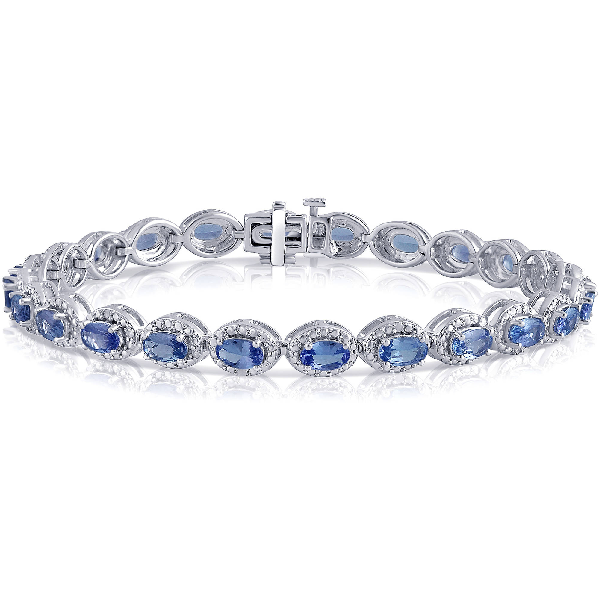 """6-1 2 Carat T.W Diamond and Oval Tanzanite Sterling Silver Fashion Bracelet, 7.0"""" by Generic"""
